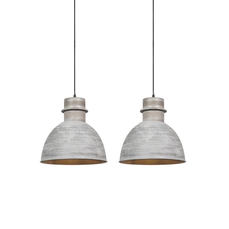 Set van 2 landelijke hanglampen grijs - Dory