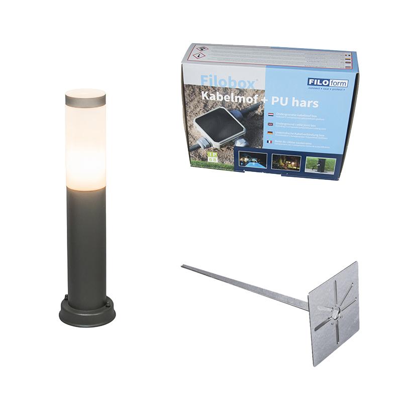 Buitenlamp paal antraciet 45 cm IP44 - Rox met grondpin en kabelmof