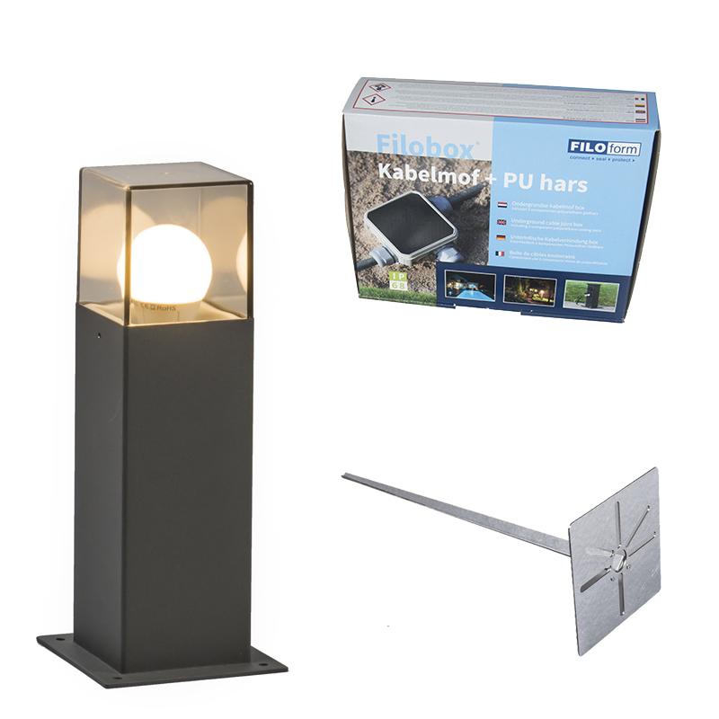 Buitenlamp 30 cm antraciet met grondpin en kabelmof - Denmark