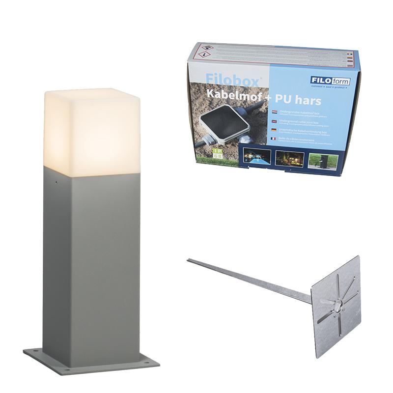 Buitenlamp 30 cm grijs met grondpin en kabelmof - Denmark