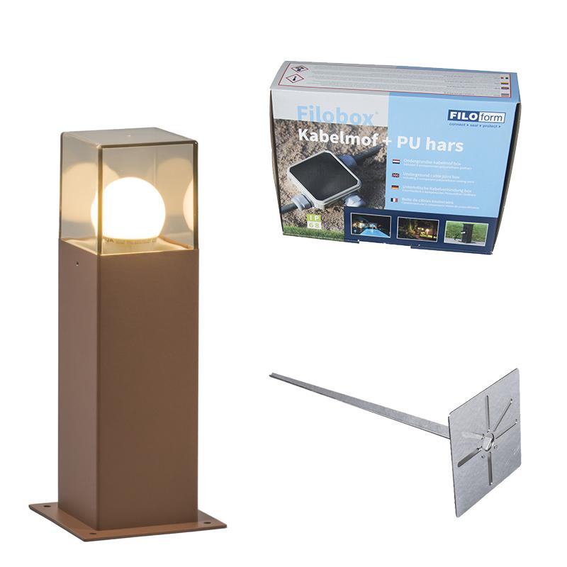 Buitenlamp 30 cm roestbruin met grondpin en kabelmof - Denmark