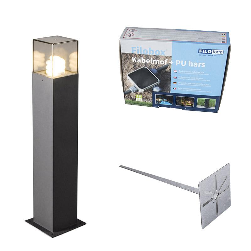 Buitenlamp 50 cm antraciet met grondpin en kabelmof - Denmark