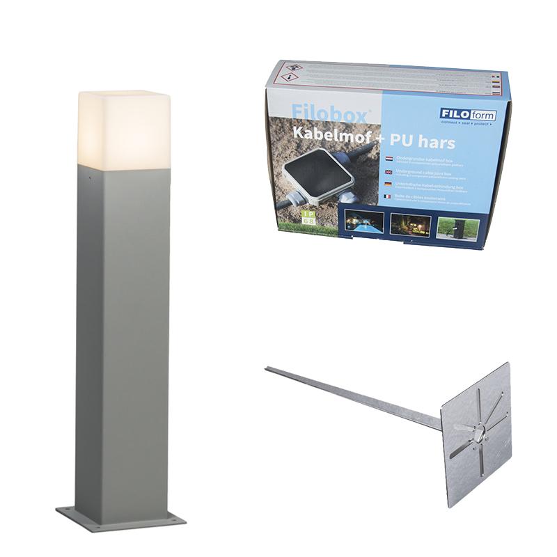 Buitenlamp 50 cm grijs met grondpin en kabelmof - Denmark