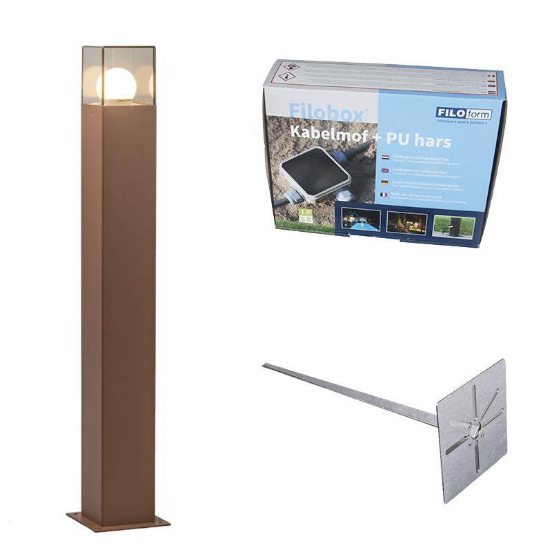 Buitenlamp 70 cm roestbruin met grondpin en kabelmof - Denmark