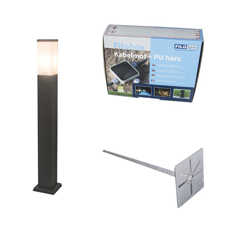 Buitenlamp antraciet 80cm IP44 - Malios met grondpin en kabelmof