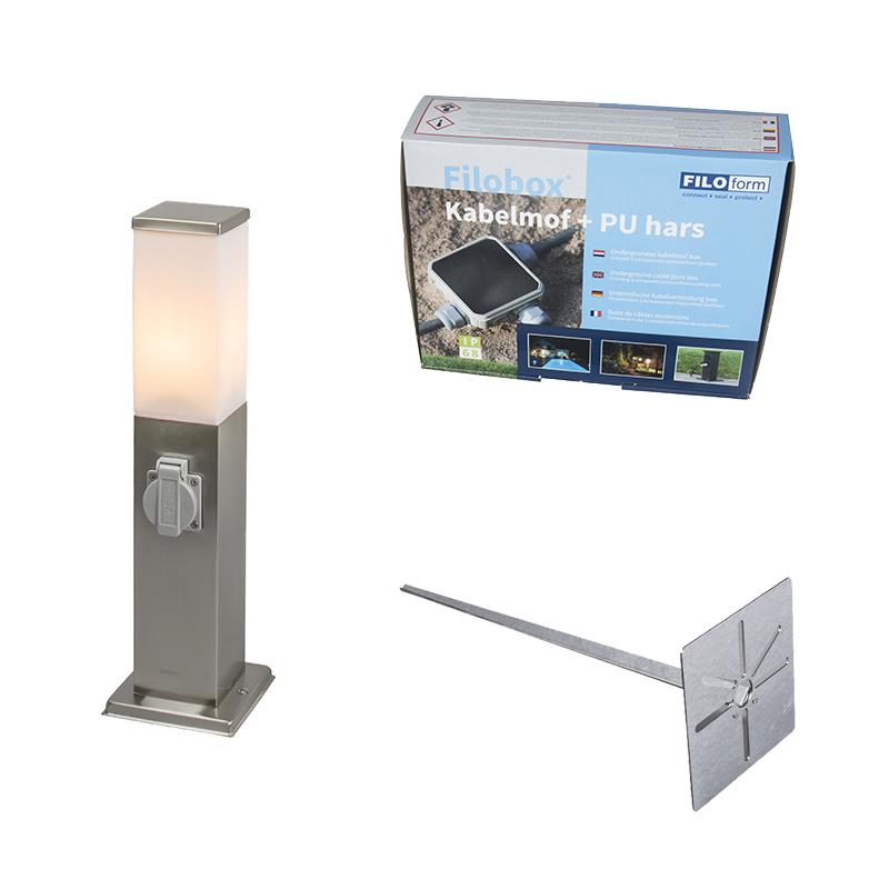 Buitenlamp staal incl stopcontact IP44- Malios met grondpin en kabelmof
