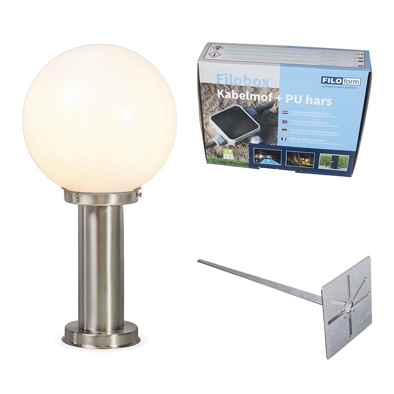 Lampa zewnętrzna stal nierdzewna 50 cm - Sfera z bolcem uziemiającym i tuleją kablową