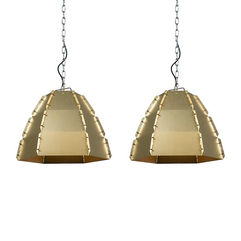Set van 2 hanglampen Niro goud