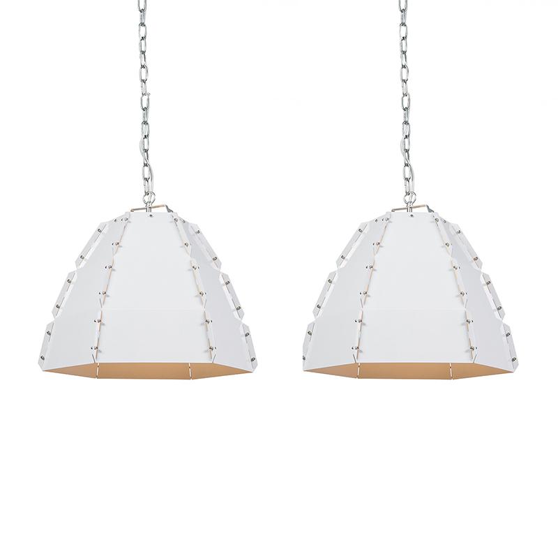 Set van 2 hanglampen Niro blank wit