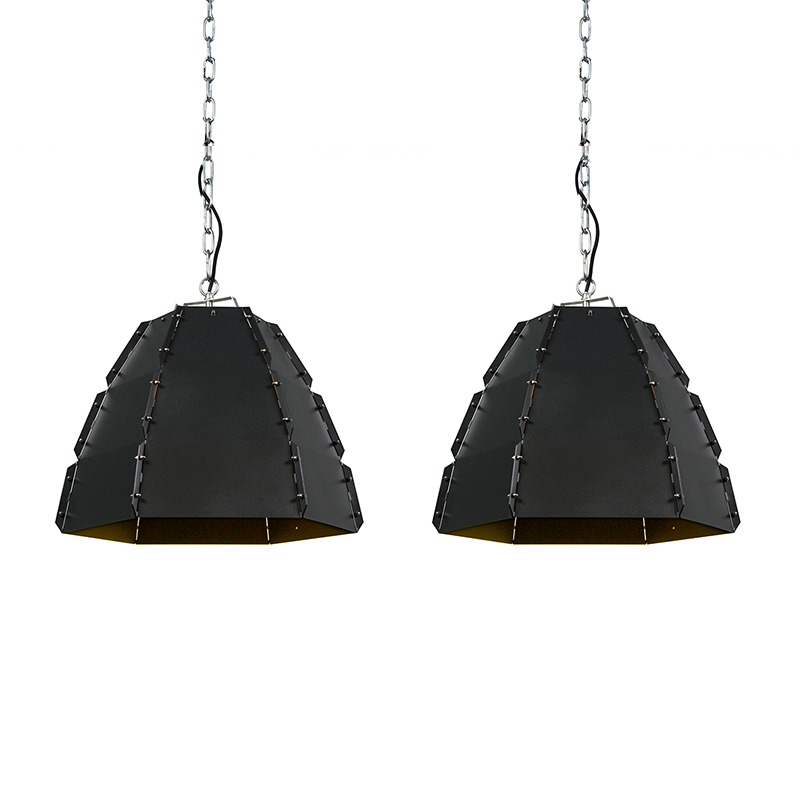 Set van 2 hanglampen Niro zwart