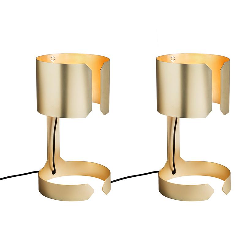 Zestaw 2 x designerska lampa stołowa złota - Waltz