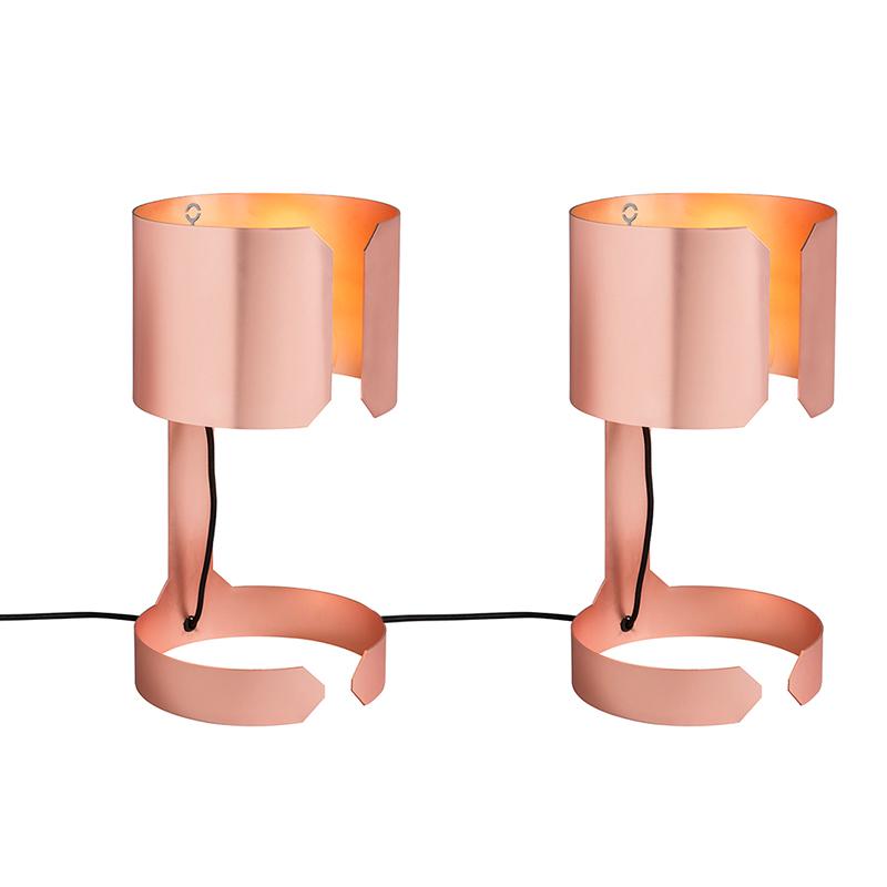 Set Van 2 Tafellampen Waltz Mat Koper