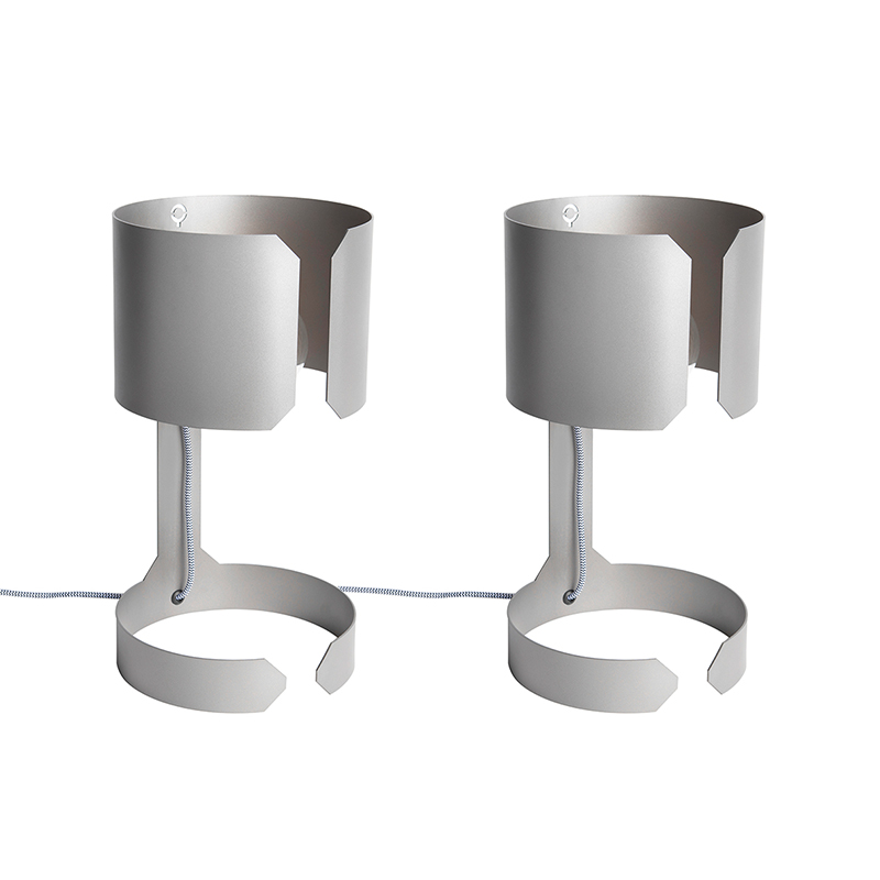 Set van 2 design tafellampen mat staal - Waltz