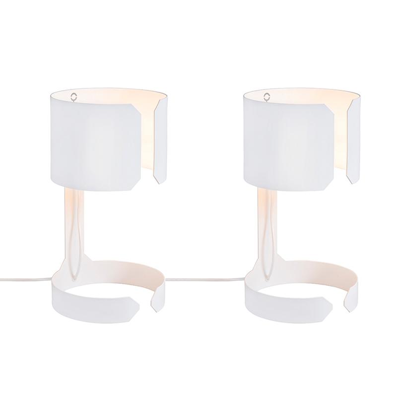 Set Van 2 Tafellampen Waltz Wit