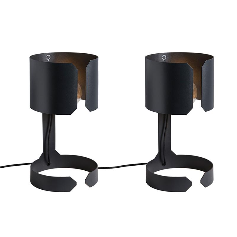 Set van 2 tafellampen Waltz zwart