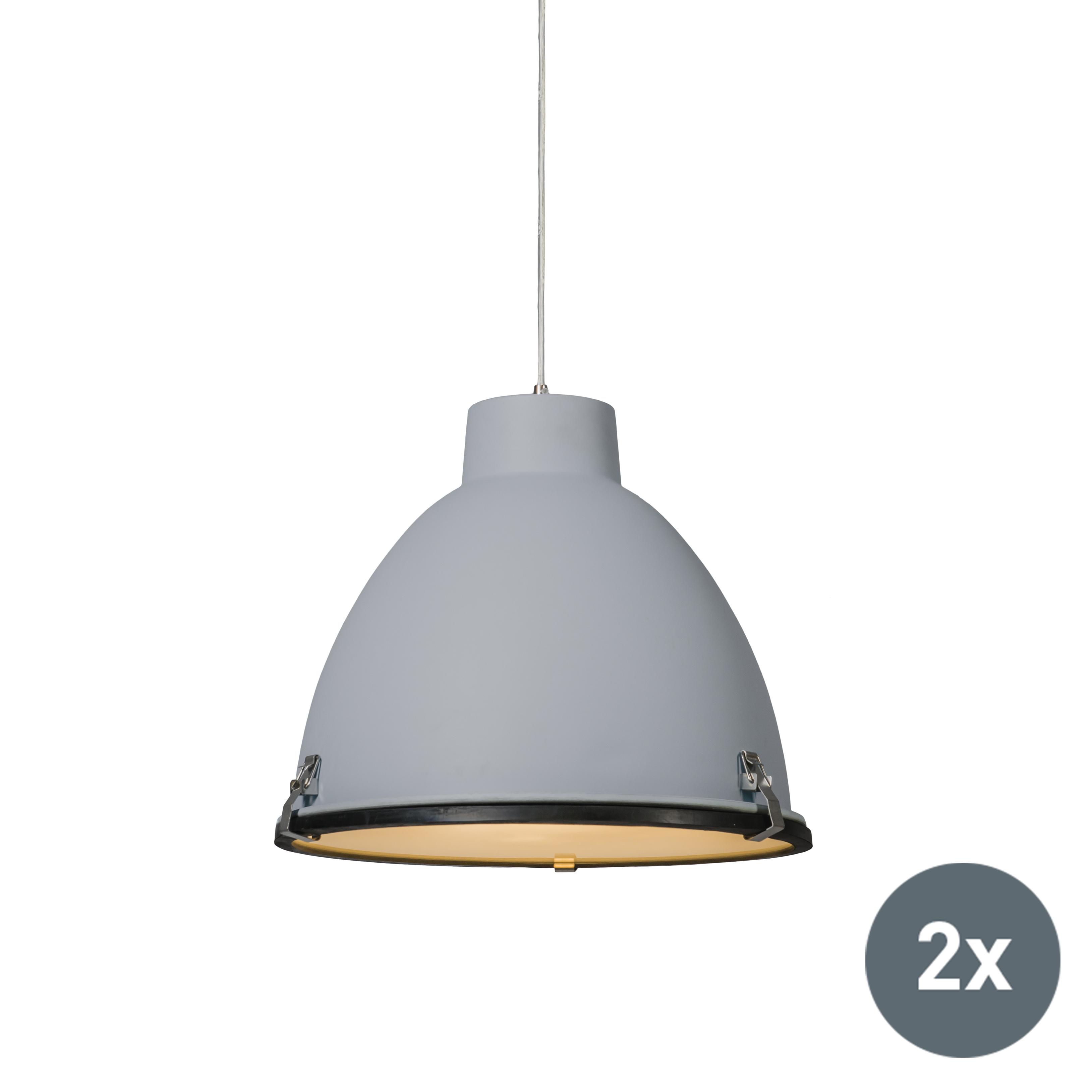 Set van 2 Industri�le hanglampen grijs 38 cm dimbaar - Anteros