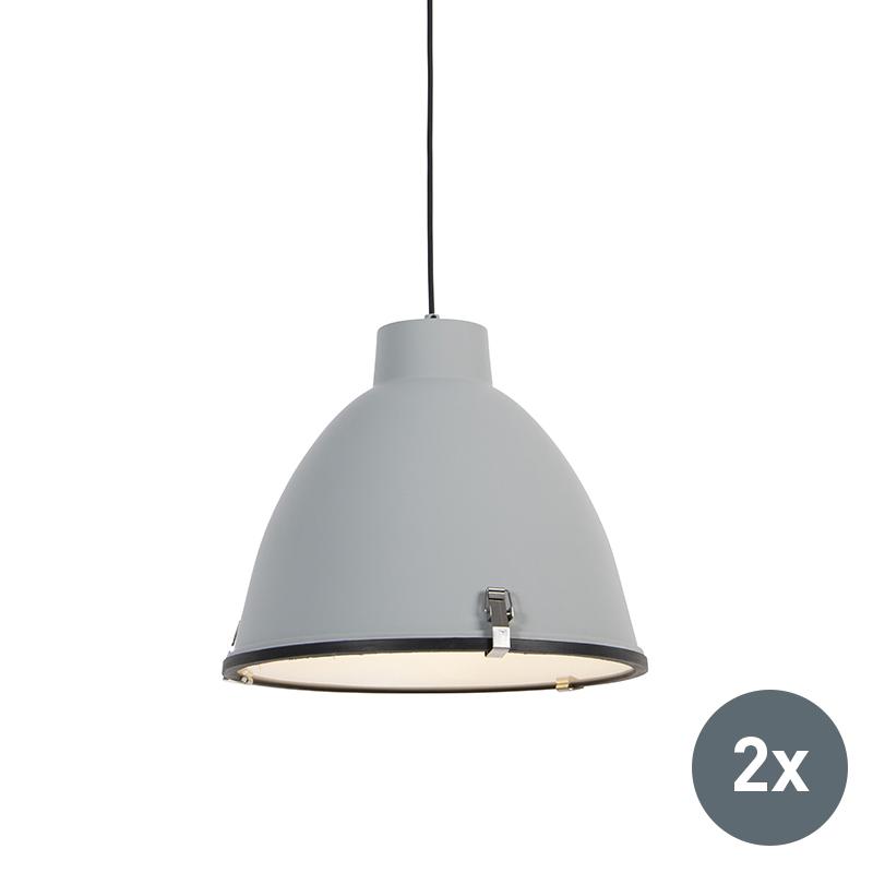 Zestaw 2 x industrialna lampa wisząca szara 38cm - Anteros