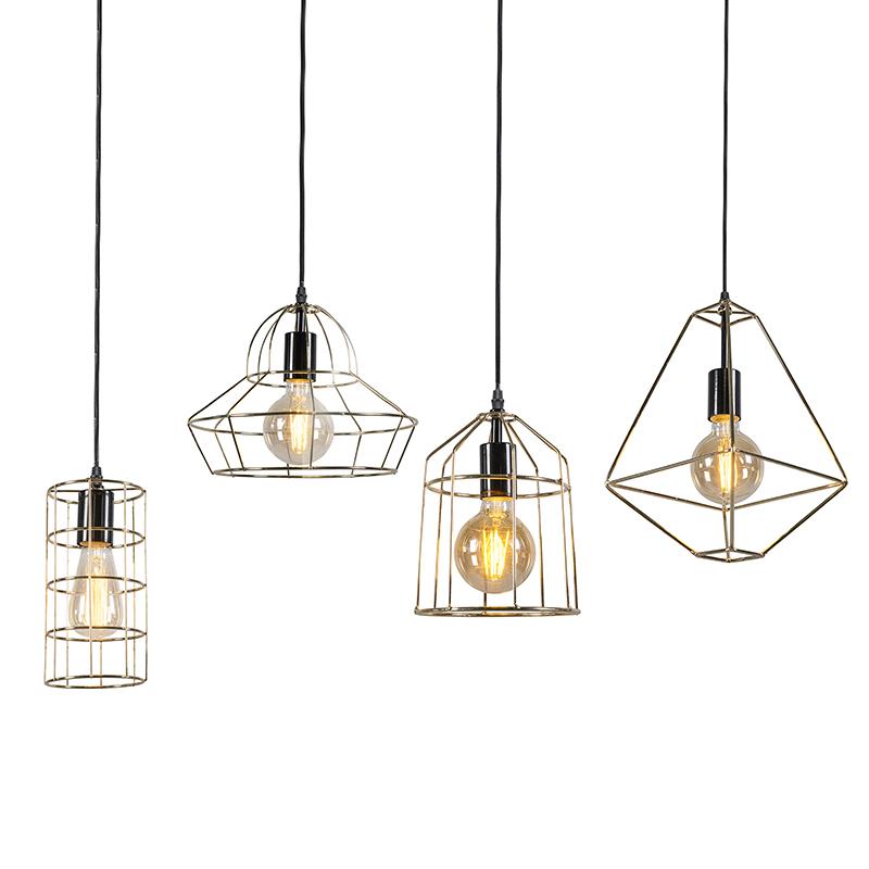 Set van 4 moderne draad hanglampen goud - Frame