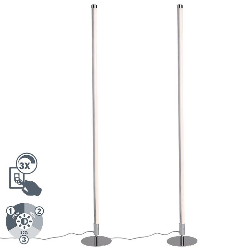 Set van 2 vloerlampen Line-up LED chroom