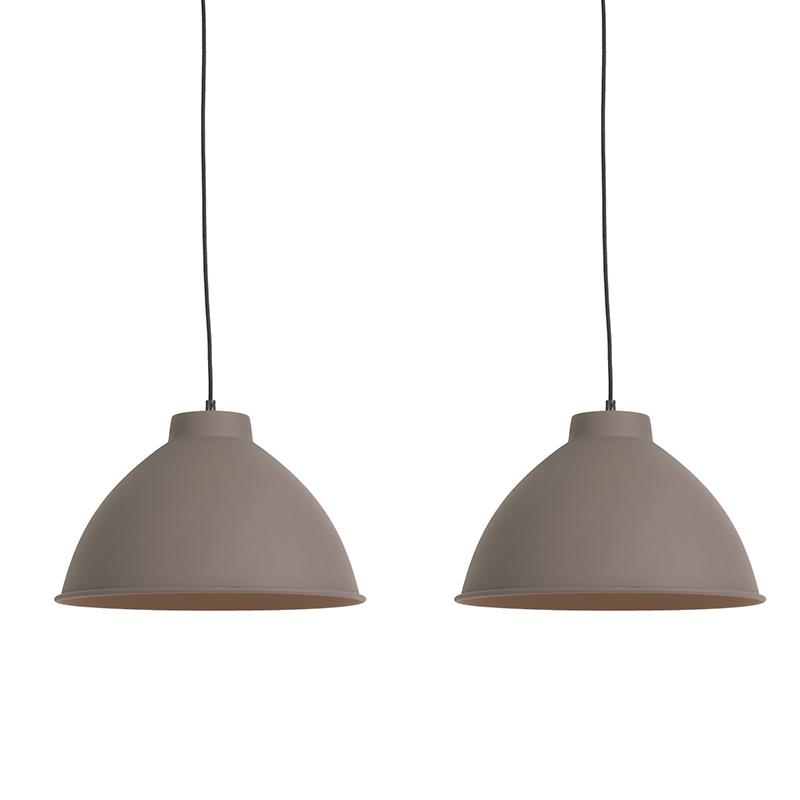 Set van 2 hanglampen Anterio 38 Basic bruin