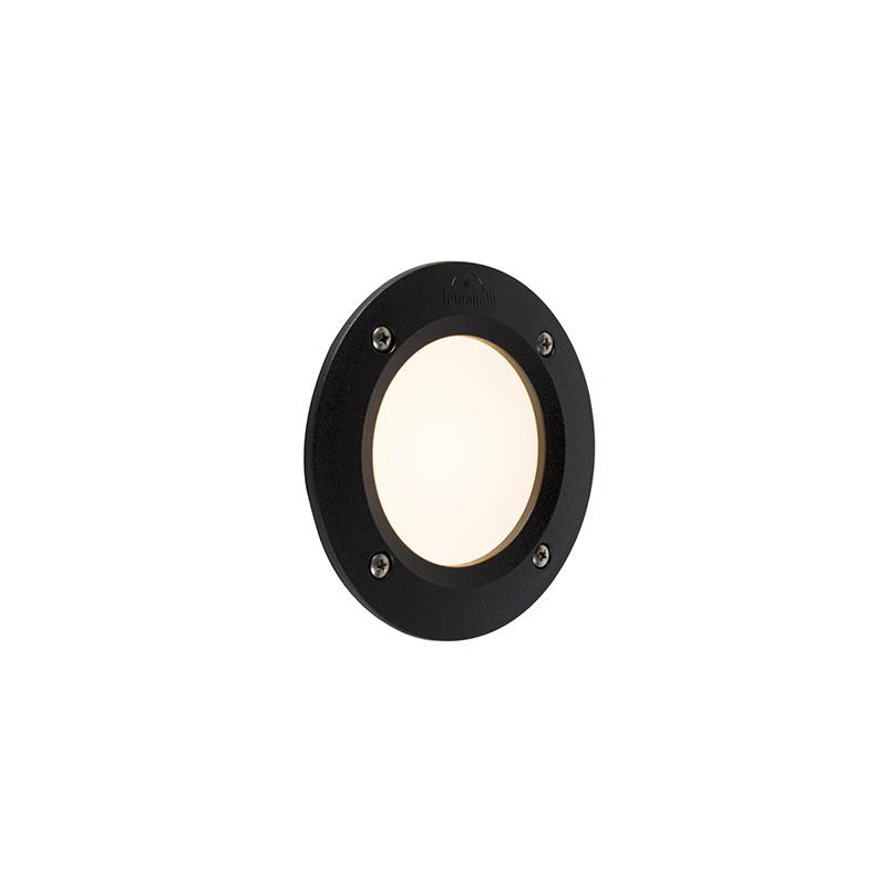 Moderne ronde buitenwandspot zwart incl. LED IP65 - Leti