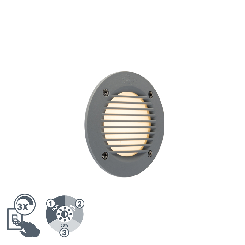 Nowoczesny okrągły zewnętrzny reflektor ścienny szary w tym LED IP65 - Leti