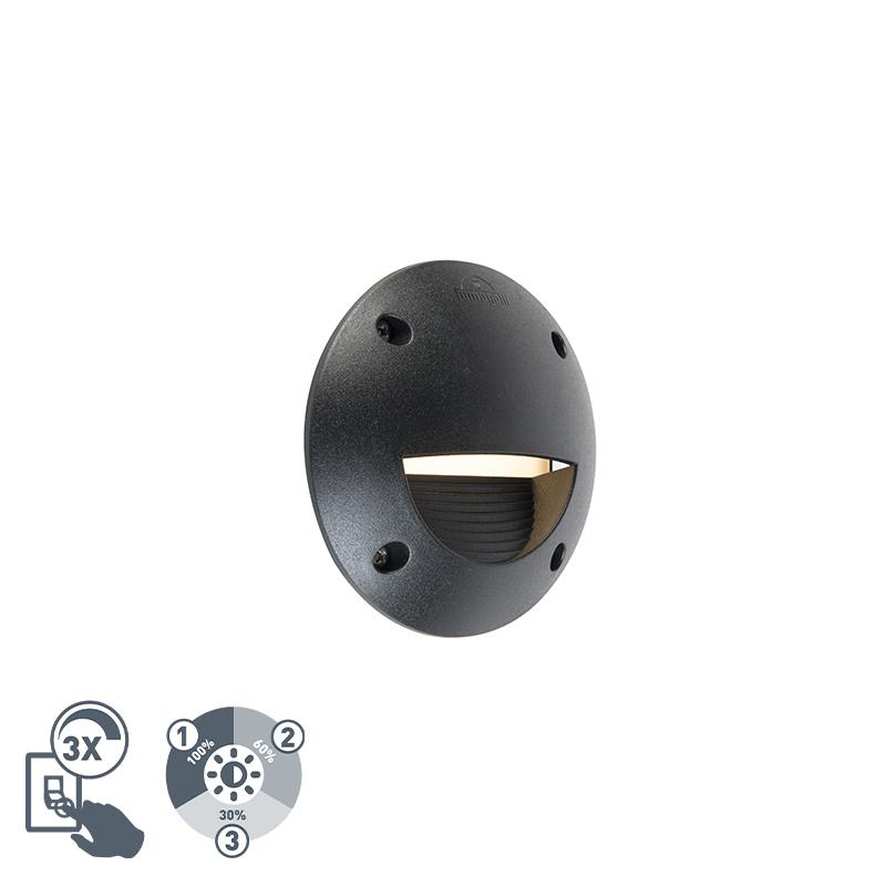 Nowoczesna półokrągła plamka zewnętrzna czarna w tym LED IP65 - Leti