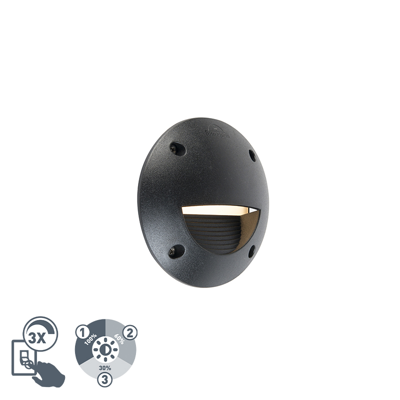 Moderne halfronde buitenwandspot zwart incl. LED IP65 - Leti