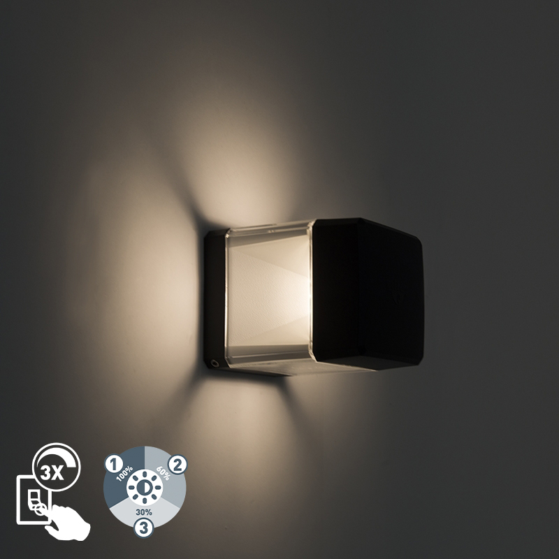 Moderne buitenwandlamp zwart incl LED IP55 - Elisa