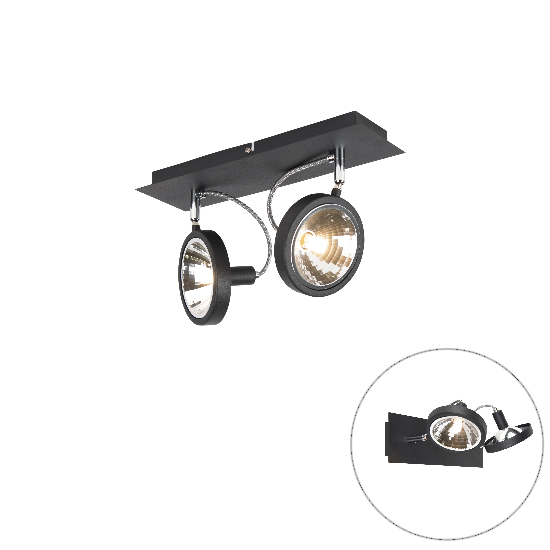 Design spot zwart 2-lichts verstelbaar - Nox