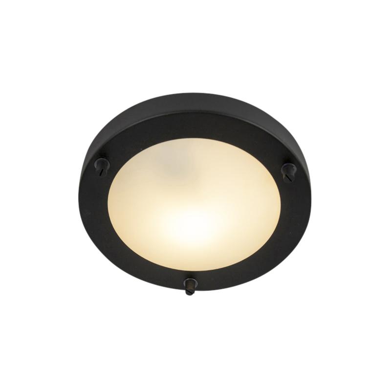 Moderne ronde badkamer plafonniere zwart - Yuma 18