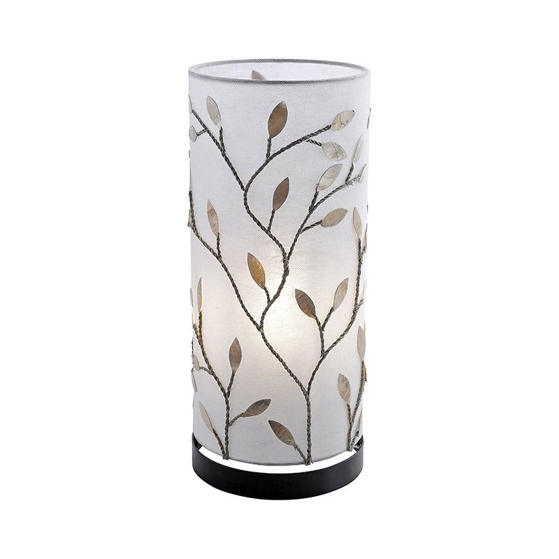 Landelijke tafellamp met creme kap en metalen blaadjes in roestbruin - Fleur