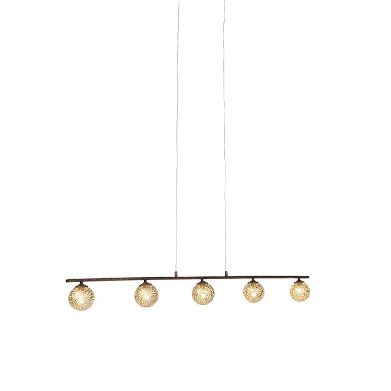 Landelijke hanglamp 5 lichts roestbruin Kreta
