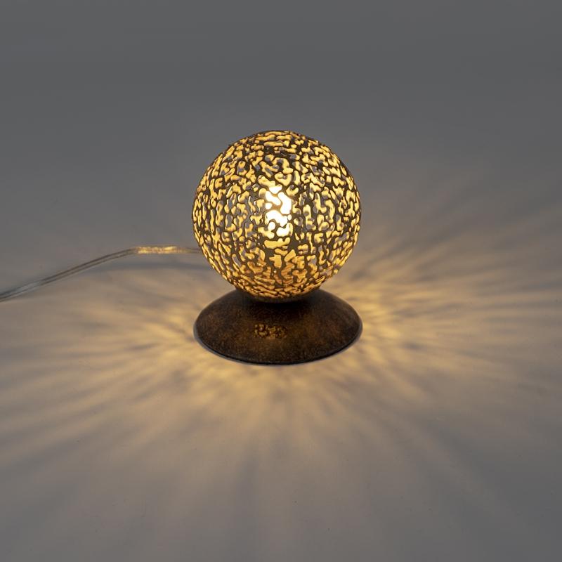 Landelijke tafellamp roestbruin 10 cm - Kreta