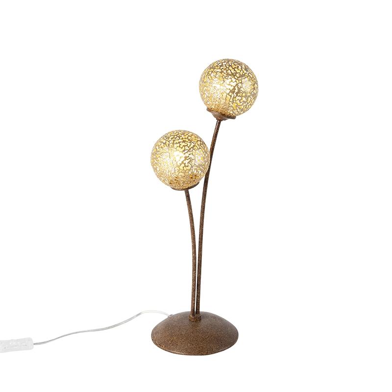Landelijke tafellamp 2-lichts in roestbruin - Kreta