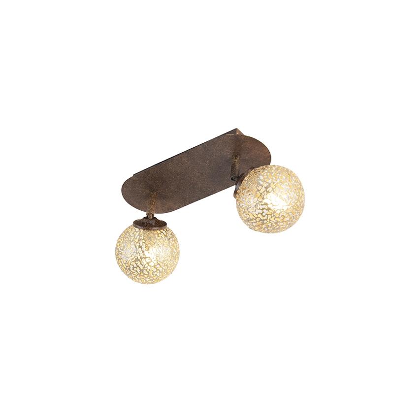 Landelijke plafondlamp in roestbruin met 2 verstelbare bollen - Kreta