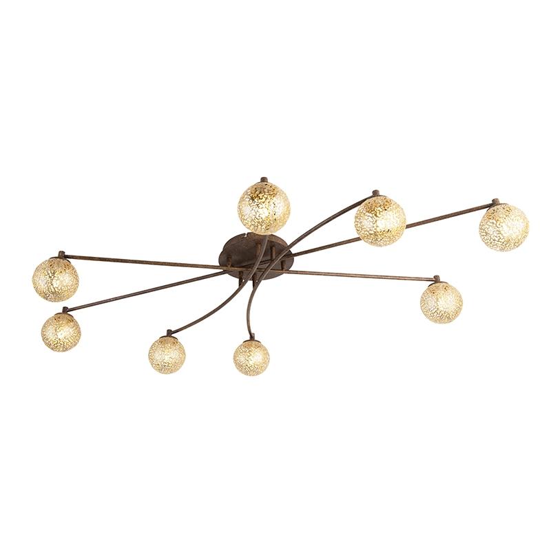 Landelijke plafondlamp 8 lichts in roestbruin Kreta