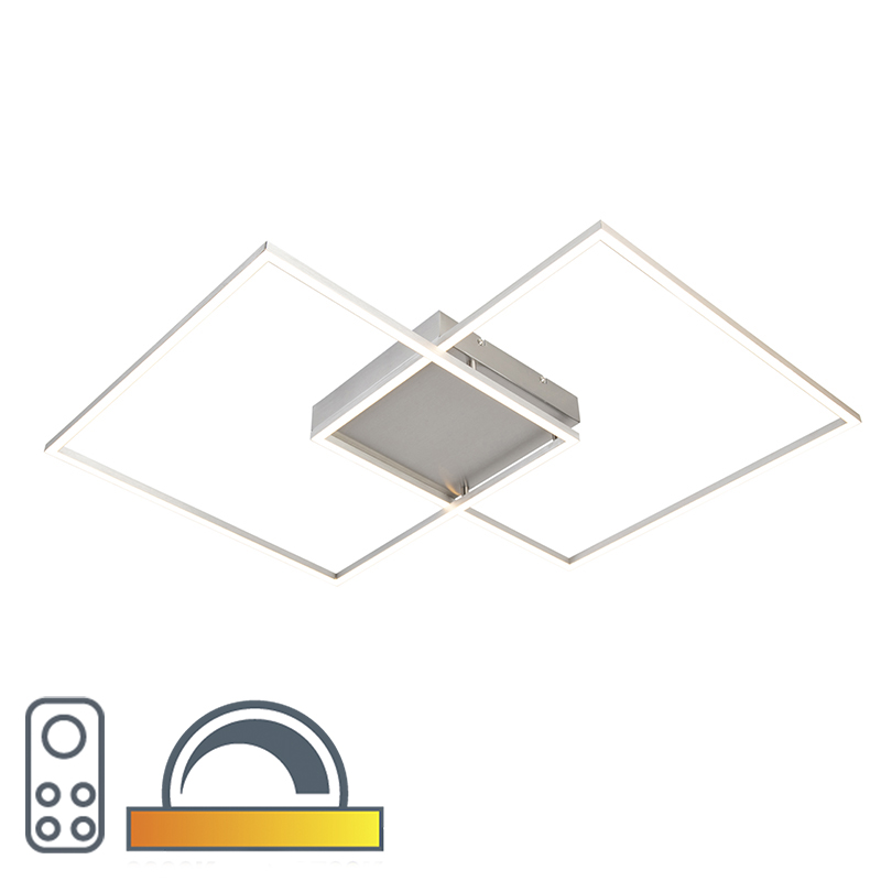 Design plafondlamp met 2 vierkanten frames in staal met LED en afstandsbediening - Plazas 2