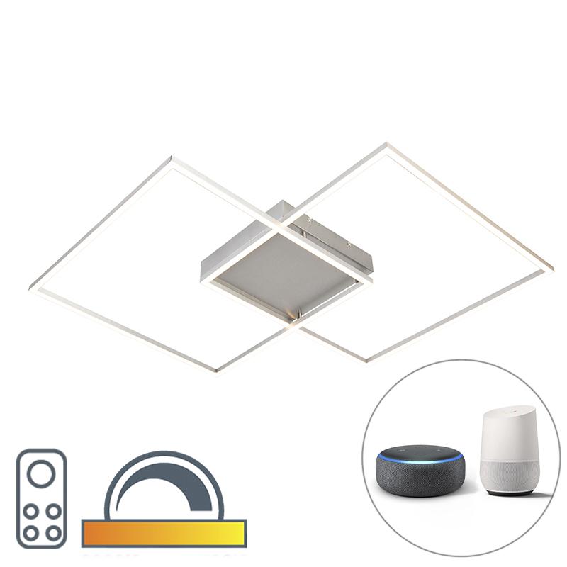 Design plafondlamp met 2 vierkanten frames in staal met LED en afstandsbediening