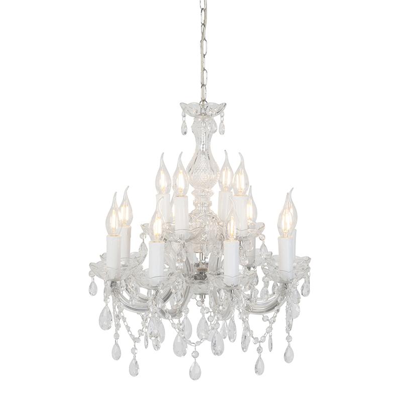 Kroonluchter glaskristal met C-arm 12-lichts - Marie Theresa