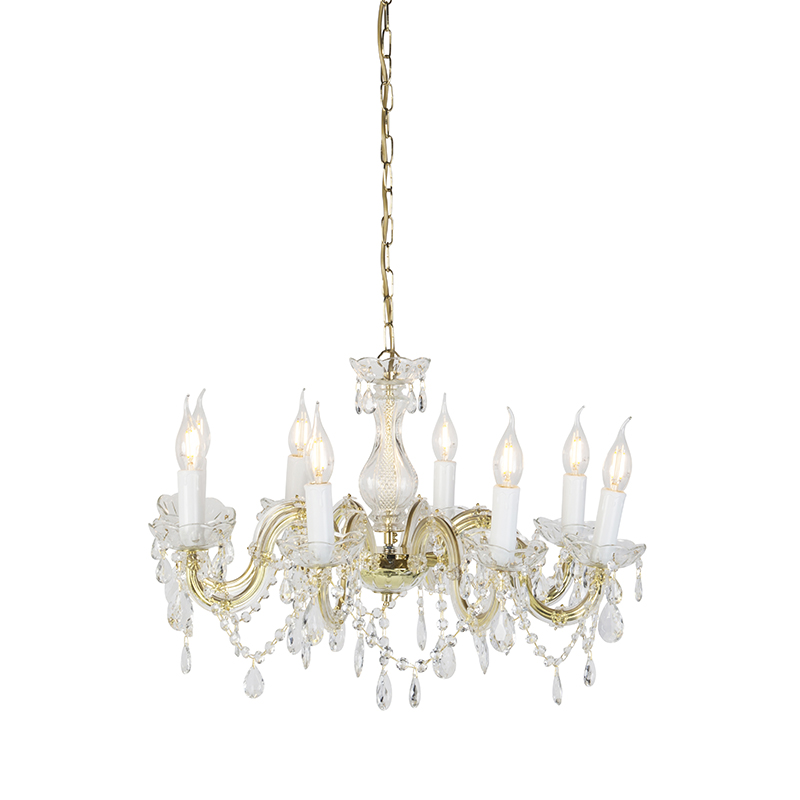 Vintage Kroonluchter Glaskristal Messing S-arm 8-lichts - Marie Theresa