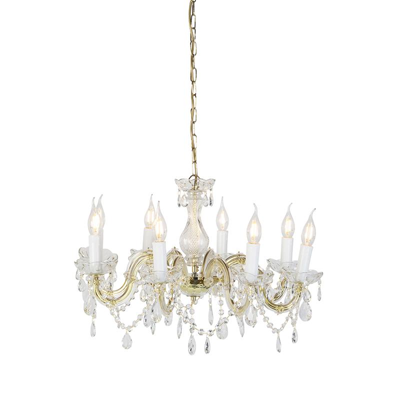 Kroonluchter goud met transparant 8-lichts - Marie Theresa