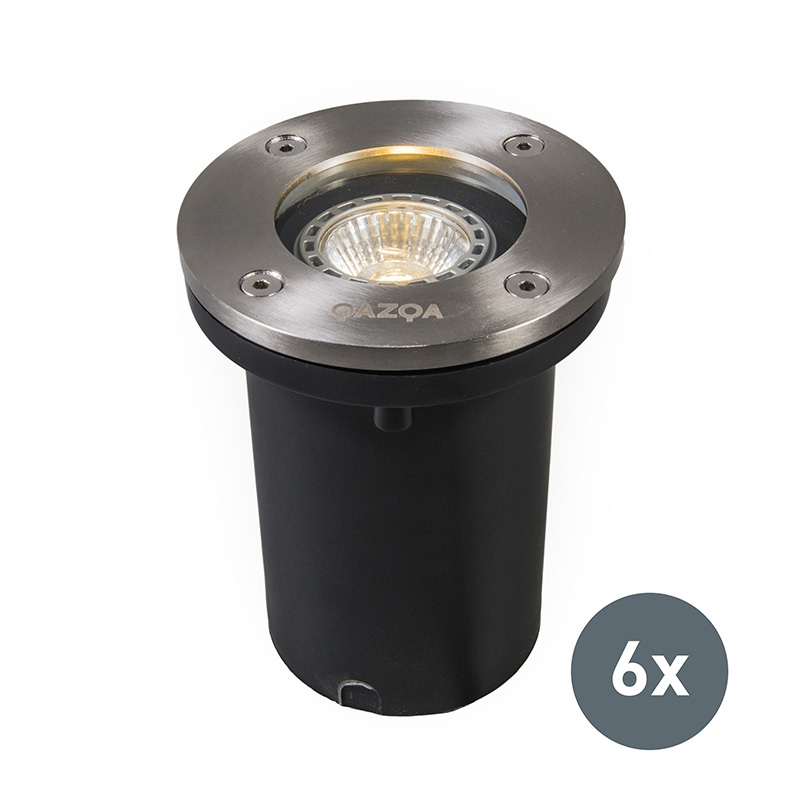 Set van 6 buiten grondspots staal IP65 - Basic Round