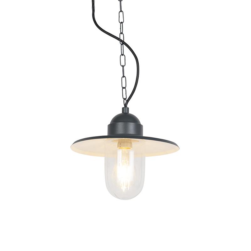 Industriele donkergrijze buitenhanglamp aan ketting - Kansas
