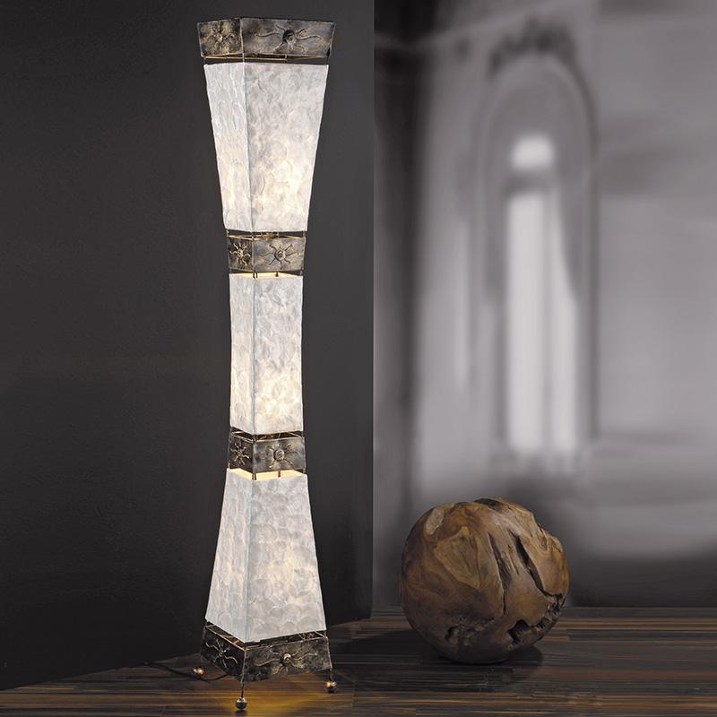 Art Deco langwerpige vloerlamp parelmoer met metalen accenten - Abuyes