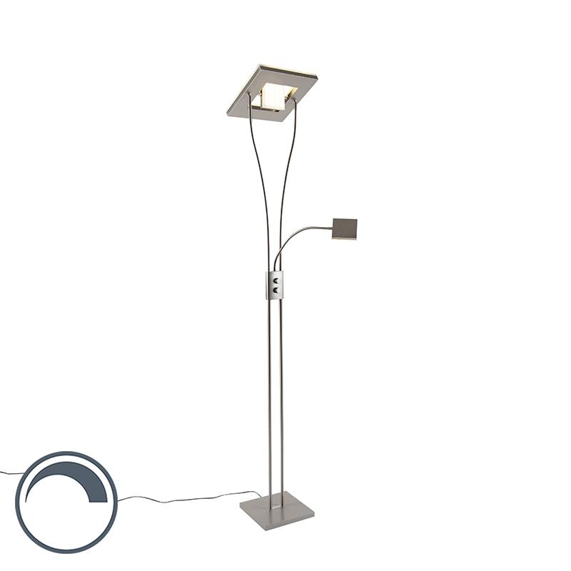 Moderne Vierkante Vloerlamp Staal Met Leeslamp Incl. Led- Helia