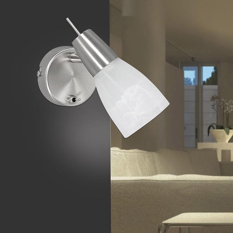Moderne ronde wandlamp staal met glas - Julia