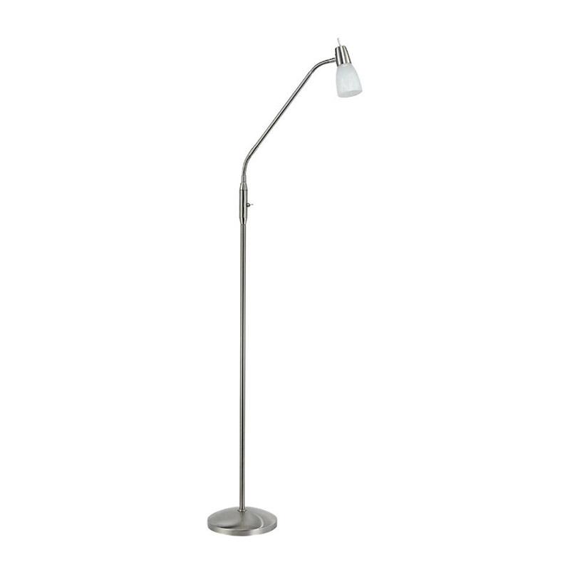Moderne rechte vloerlamp staal met glas - Julia