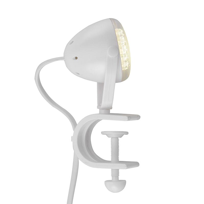 Moderne ronde klemlamp wit incl. LED- Podgy