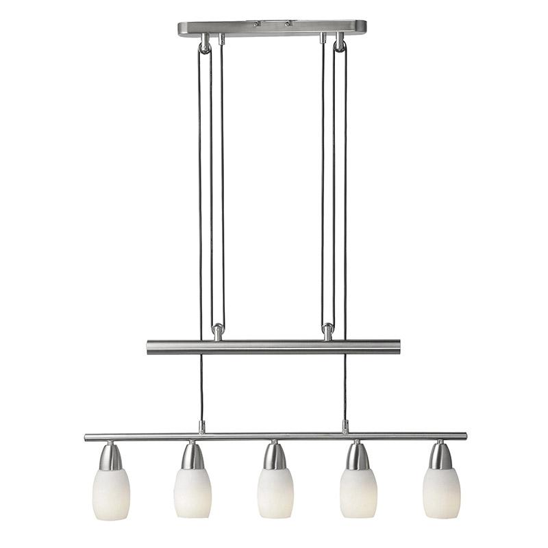 Moderne rechte hanglamp staal met 5 lichtpunten - Zlata